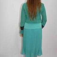 Fusta tinereasca, nuanta de turcoaz, material plisat, elastic in talie