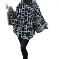 Jacheta moderna Daisy tip poncho ,imprimeu 3d cu lini,nuanta de negru