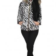 Jacheta moderna din fas cu insertii de catifea, nuanta alb