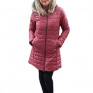 Jacheta tinereasca din fas fin, de culoare marsala, model lung