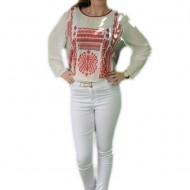 Pantalon alb de vara, tip creoin cu strasuri mici, masura mare