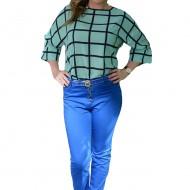 Pantalon casual, de culoare albastra, model lung pentru vara