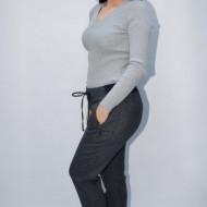 Pantalon casual Ianna cu snur ,gri