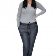 Pantalon casual Lydia din stofa cu snur ,gri