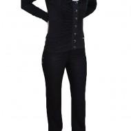 Pantalon cu buzunare apretate, nuanta de negru, fermoar