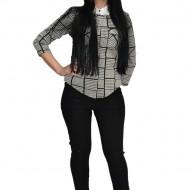Pantalon cu insertii pe picior ,nuanta neagra