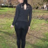 Pantalon dama casual Ilinca,dunga pe picior,negru