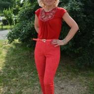 Pantalon lung in nuanta vie de vara, rosu cu imprimeu floral