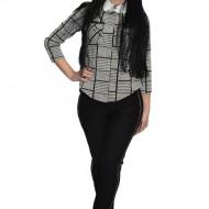 Pantalon modern,casual cu insertii de strasuri si piele,nuanta neagra