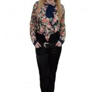 Pantalon modern, din saten, cu talie inalta, de culoare neagra