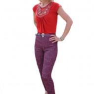 Pantalon mov cu design floral, model lung de primavara-vara