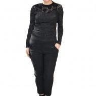 Pantalon office-casul Cleopatra,model cu patratele,gri inchis