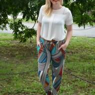 Pantalon salvar cu imprimeu abstract din dungi, albastru-turcoaz