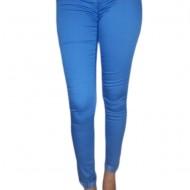 Pantaloni casual, in nuante albastre, cu fermuar si nasture metalic