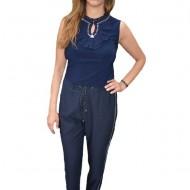 Pantaloni Clarie cu aplicatii argintii,nuanta de bleumarin