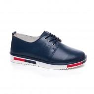 Pantof bleumarin cu talpa joasa si fixare cu siret reglabil, din piele