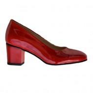 Pantof comod cu toc patrat de inaltime medie, nuanta de rosu