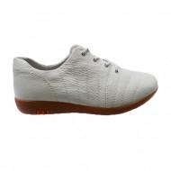 Pantof comod, piele naturala, nuanta de alb, inchidere cu siret