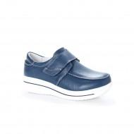 Pantof confortabil din piele naturala bleumarin, cu talpa usoara