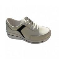 Pantof confortabil din piele naturala de culoare alba