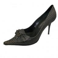 Pantof cu aspect de piele de sarpe, nuanta de gri, toc subtire