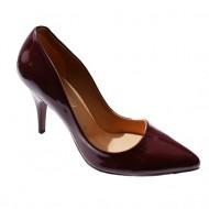 Pantof de culoare marsala, cu toc cui de 9 cm si aspect lucios