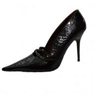 Pantof elegant, nuanta de negru, varf ascutit fashion