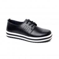 Pantof modern cu siret de culoare neagra, cu talpa groasa, usoara
