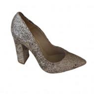 Pantof tineresc cu sclipici aplicat pe piele naturala, nuanta aurie