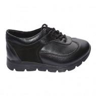 Pantof trendy cu siret si talpa usoara, din piele naturala neagra
