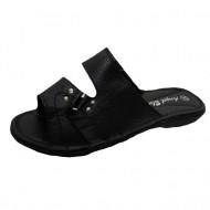 Papuci comozi, din piele, de culoare neagra, cu talpa plata, flexibila