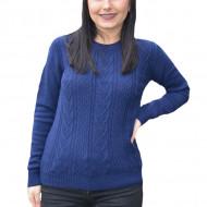 Pulover tricotat Adala cu model rafinat,bleumarin