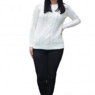 Pulover tricotat Jenny,model deosebit,3D,alb
