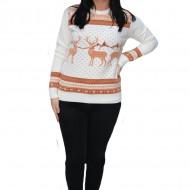 Pulover tricotat Melinda,model cu ren ,nuanta de alb-maro