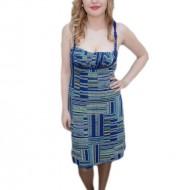 Rochie bleumarin, imprimeu de dungi verticale, orizontale
