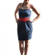 Rochie casual cu bretele, in culoare bleumarin cu buline albe