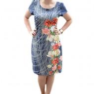 Rochie casual cu imprimeu in tesatura si design floral multicolor