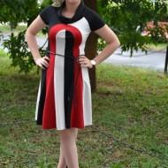 Rochie casual, de culoare negru-rosu, un cordon din piele subtire