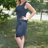 Rochie casual, feminina, chic de culoare bleumarin