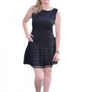 Rochie casual, neagra, cu insertie , de piele ecologica