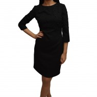 Rochie chic de toamna-iarna, nuanta de negru, cu design de perle
