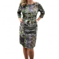Rochie chic de zi, masura mare, cu design deosebit multicolor