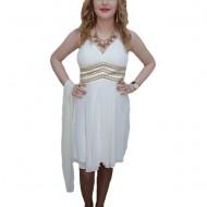 Rochie chic, nuanta de alb, design auriu interesant