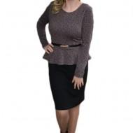 Rochie clasica cu maneca lunga, tip costum, culoare negru-roz