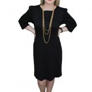 Rochie cu decolteu rotund, nuanta de negru, inchidere cu fermoar