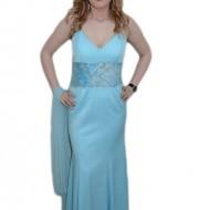 Rochie cu design de dantela aplicata, nuanta de albastru
