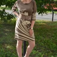 Rochie cu maneci trei-sferturi, bej-alb