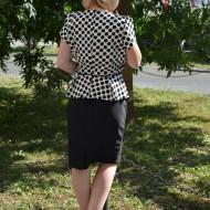 Rochie cu peplum, de culoare bleumarin-alb