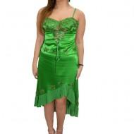 Rochie cu trena, din saten lucios de culoare verde