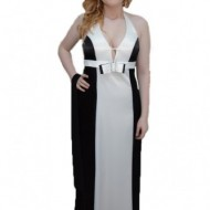 Rochie de gala bicolora, negru-alb, saten fin, bretele dupa gat